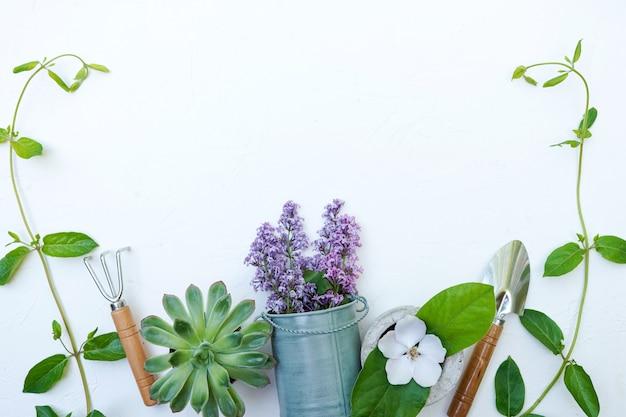 Attrezzi da giardinaggio su sfondo bianco con copia spazio