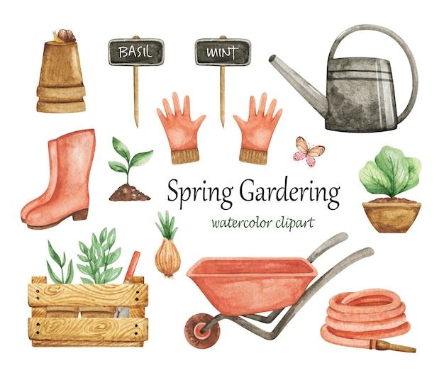 Acquerello clipart gardering, set di attrezzi da giardino, elementi spring garden, carriola, annaffiatoio