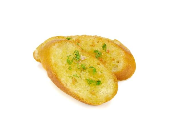 Pane all'aglio isolato su sfondo bianco