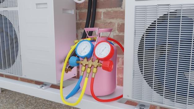 I manometri della bombola del gas e l'unità esterna del condizionatore d'aria sul tetto3d rendono