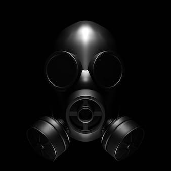 Maschera antigas su nero. illustrazione 3d