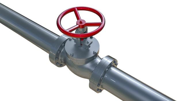 Tubo del gas con illustrazione della valvola 3d. isolato su bianco