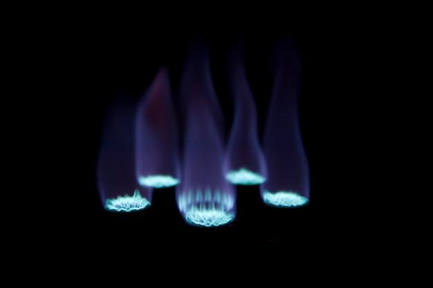 Fornello a gas bruciatore al buio