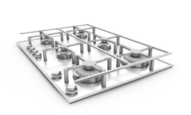 La stufa a gas ha incorporato il metallo di vetro 3d rende su fondo bianco con shadow