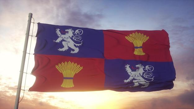 Bandiera della guascogna, francia, che fluttua nel vento, nel cielo e nello sfondo del sole. rendering 3d