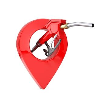 Ugello del carburante della pompa della pistola della benzina, distributore di benzina e perno del puntatore della mappa su un fondo bianco. rendering 3d