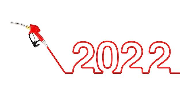 Ugello del carburante della pompa della pistola della benzina, distributore di benzina con il segno del nuovo anno 2022 su un fondo bianco. rendering 3d