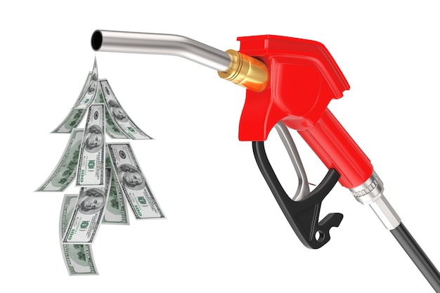Benzina pistola pompa ugello carburante, distributore di benzina con gocciolina di banconote in dollari su uno sfondo bianco. rendering 3d