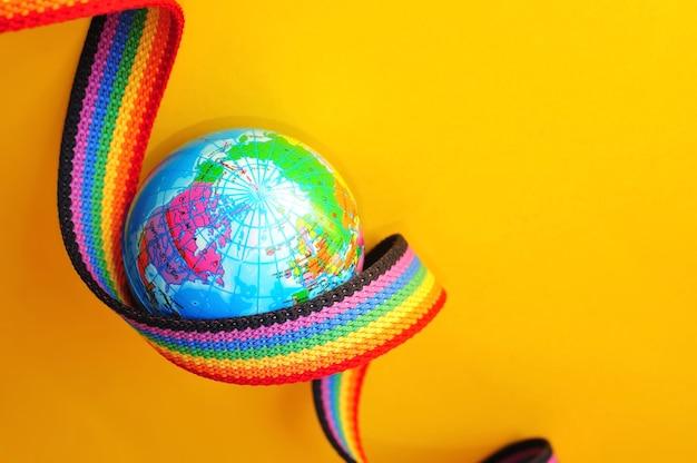 Elementi di design dell'orgoglio gay nastro arcobaleno simboli dell'orgoglio gay e lesbico lgbt concetto lgbt