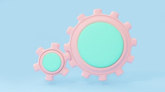 L'area centrale di colore pastello rosa e verde dell'ingranaggio entra per il tuo testo su sfondo blu. percorso di residuo della potatura meccanica. rendering 3d.