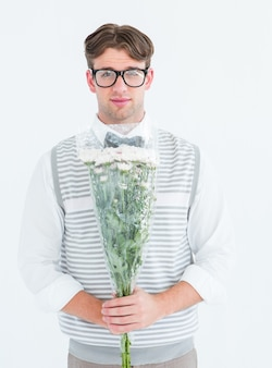 Pantaloni a vita bassa geeky che offrono mazzo di fiori