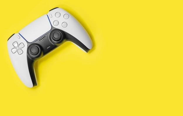 Controller di gioco next gen su sfondo giallo