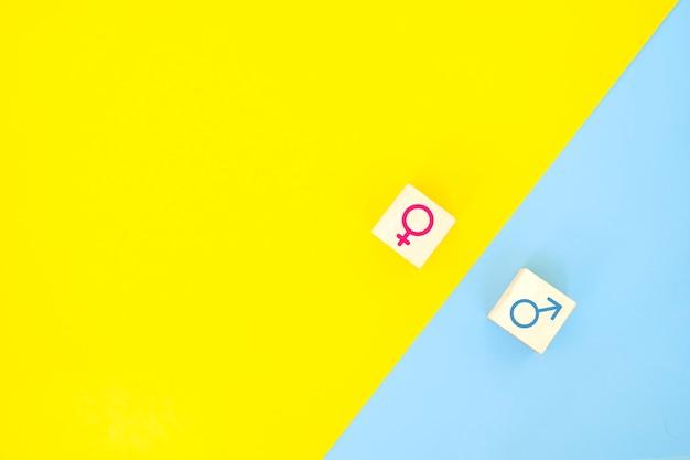 Concetto di uguaglianza di genere. icona di imprenditrice e uomo d'affari su sfondo giallo e blu.