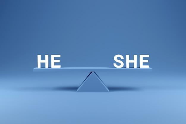 Parità dei sessi. ha eguagliato lei sulla bilancia con l'equilibrio sul blu