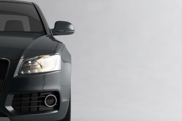 Automobile sportiva grigia di lusso generica isolata su una superficie bianca