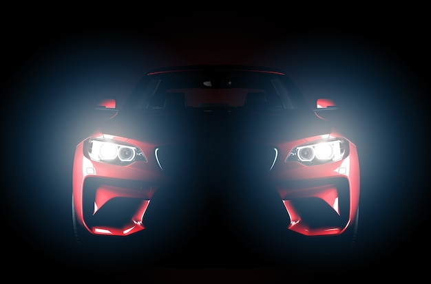 Automobile senza marchio sportiva rossa generica isolata su uno sfondo scuro con fari