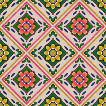 Modello senza cuciture ikat geometrico e floreale