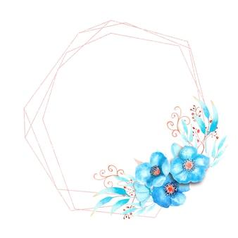 Cornice geometrica con fiori di elleboro blu, boccioli, foglie, ramoscelli decorativi su sfondo bianco isolato. bouquet nella parte inferiore della cornice. illustrazione dell'acquerello.