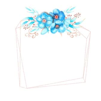 Cornice geometrica con fiori di elleboro blu, boccioli, foglie, ramoscelli decorativi su sfondo bianco isolato. mazzo in alto. illustrazione dell'acquerello.