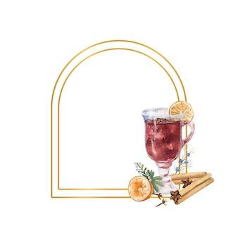 Cornice geometrica in oro con un bicchiere di vin brulè, limone e inverno d cor. illustrazione ad acquerello