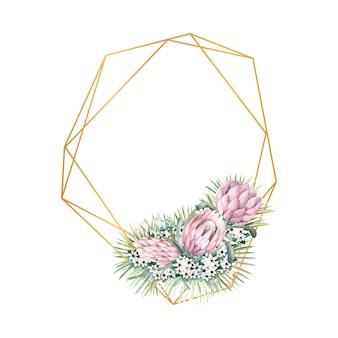 Cornice oro geometrica con fiori protea