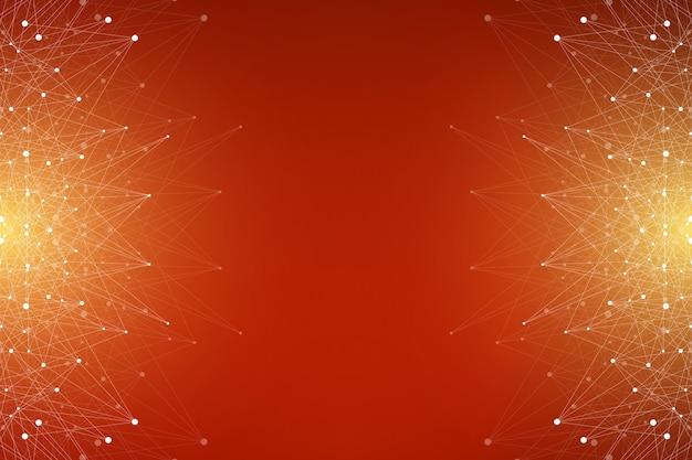 Molecola di sfondo grafico geometrico e comunicazione. complesso di big data con composti. plesso di linee, schiera minima. visualizzazione dei dati digitali. illustrazione scientifica cibernetica.