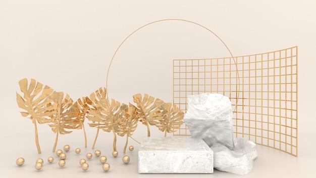 Podio geometrico in marmo circondato da palline sferiche dorate, foglie d'oro e pannelli a rete su fondo crema. display concettuale per l'utilizzo in mezzi pubblicitari. rendering 3d