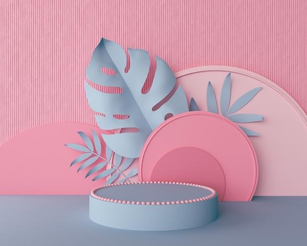 Sfondo geometrico color pastello, design per cosmetici o esposizione di prodotti podio 3d rendering.