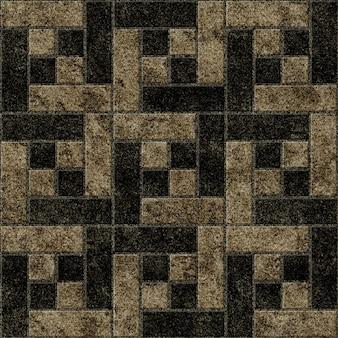 Piastrelle in ceramica motivo geometrico con struttura in granito naturale.