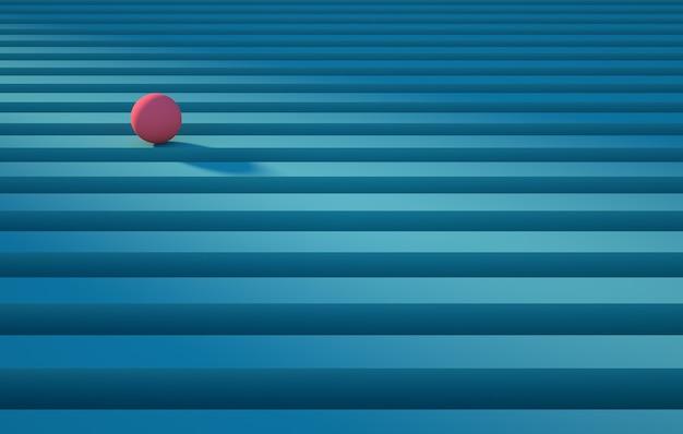 Sfera rosa geometrica che rotola su un concetto di sfondo astratto a strisce blu render