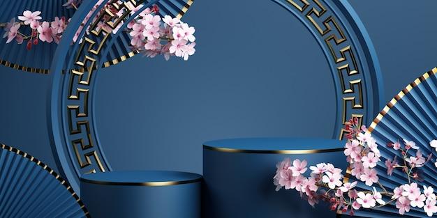 Podio geometrico fiore di ciliegio e padella con sfondo blu per la presentazione del prodotto rendering 3d