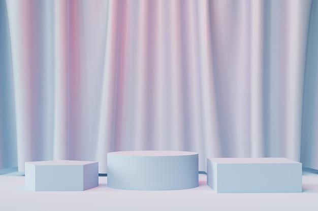Podi geometrici o piedistalli per prodotti o pubblicità su sfondo blu e rosa neutro con tende, rendering minimo di illustrazione 3d