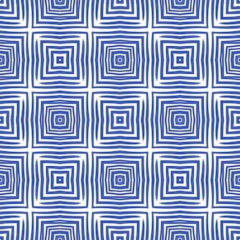 Modello senza cuciture geometrico. sfondo caleidoscopio simmetrico indaco. tessuto pronto stampa reale, tessuto per costumi da bagno, carta da parati, involucro. disegno geometrico senza cuciture disegnato a mano.