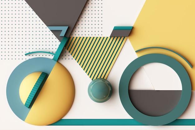 Forma geometrica del concetto di sport in bicicletta in tonalità di colore giallo e verde. rendering 3d