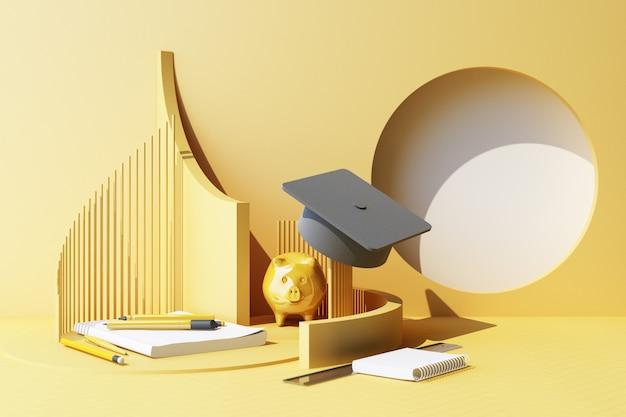 Composizione minima di forma geometrica e materiale scolastico sullo sfondo pastello giallo istruzioneritorno al concetto di scuola dipingere matite e forbici accessori per la scuola e cappello di laurea rendering 3d