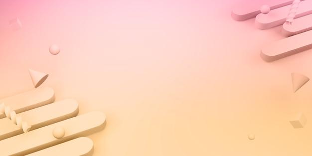 Illustrazione 3d del fondo dolce di colore del plastel di forma geometrica