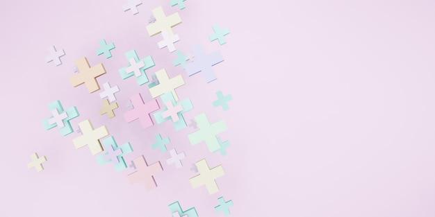 Forma geometrica segno più colore pastello sfondo dolce illustrazione 3d