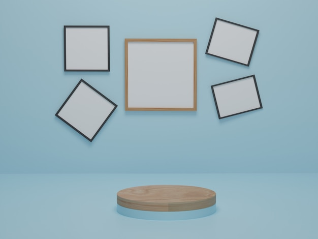 Podio in legno di forma geometrica su sfondo blu. piattaforme per la presentazione del prodotto, mock up dello sfondo della cornice. composizione astratta dal design minimale. rendering 3d.