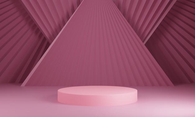 Composizione di forme geometriche con spazio vuoto per spettacolo di progettazione del prodotto. 3d rendono il podio astratto del cilindro su fondo rosa scuro