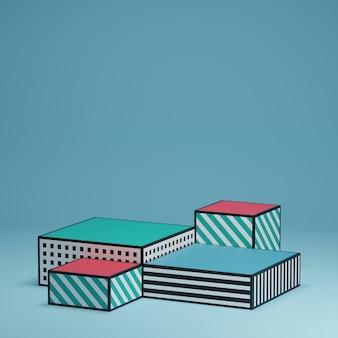 Piattaforme con motivi geometrici per la presentazione del display del prodotto su sfondo blu