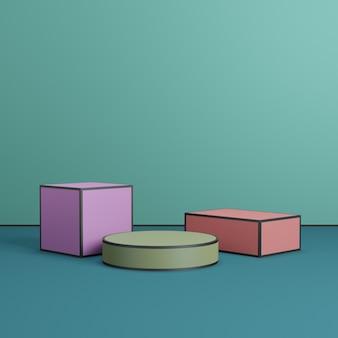 Piattaforme colorate sul podio del palco geometrico per la presentazione dell'esposizione del prodotto su sfondo verde