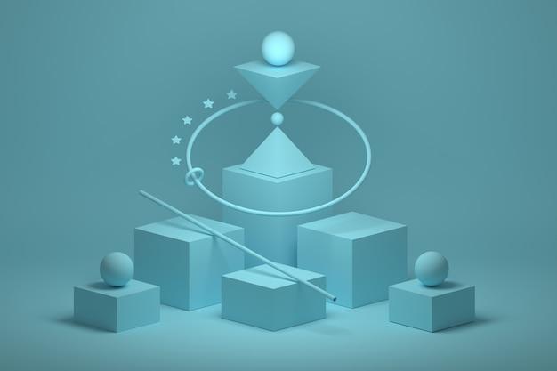 Composizione geometrica piramidale triangolare con forme di base