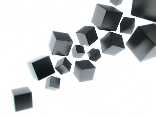 Sfondo geometrico con cubi neri astratti e spazio per il testo