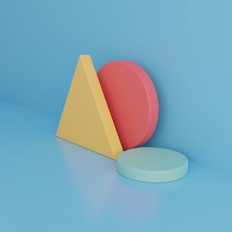 Forme geometriche colorate su sfondo blu. rendering 3d