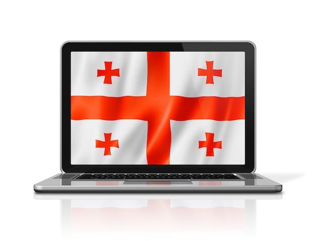 Bandiera della georgia sullo schermo del computer portatile isolato su bianco. rendering di illustrazione 3d.