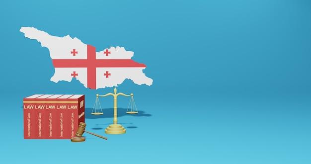 Legge della georgia per le infografiche, i contenuti dei social media nel rendering 3d