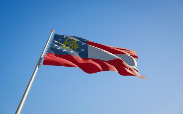Angolo basso della bandiera di stato degli stati uniti della georgia. grafica 3d