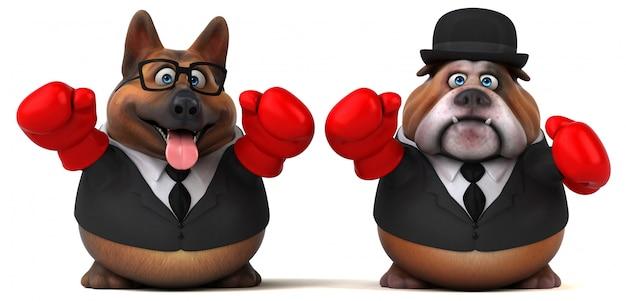 Cane da pastore tedesco ed illustrazione inglese del bulldog 3d
