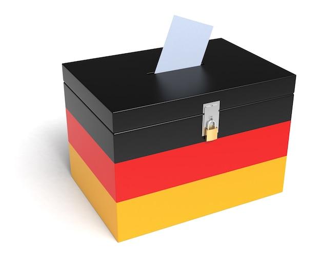 Urna della germania con bandiera tedesca. isolato su sfondo bianco.