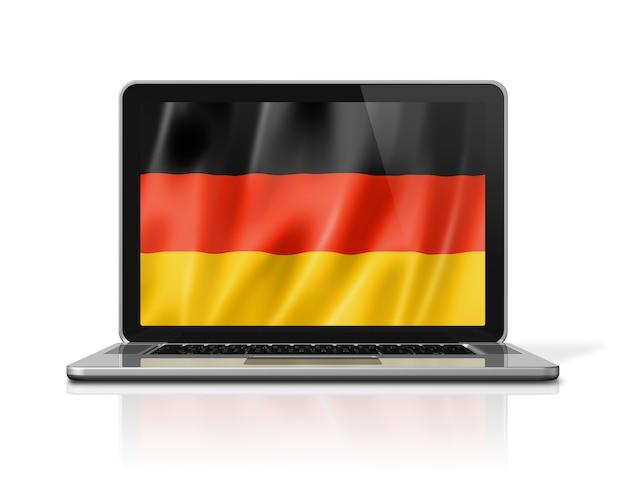 Bandiera della germania sullo schermo del computer portatile isolato su bianco. rendering di illustrazione 3d.